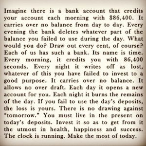 Motivational Quote on Time: Imagine there is a bank that credits your account