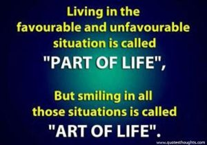 "Motivational Quote on Art of living: Living in the favorable and unfavorable situation is ""part of living"