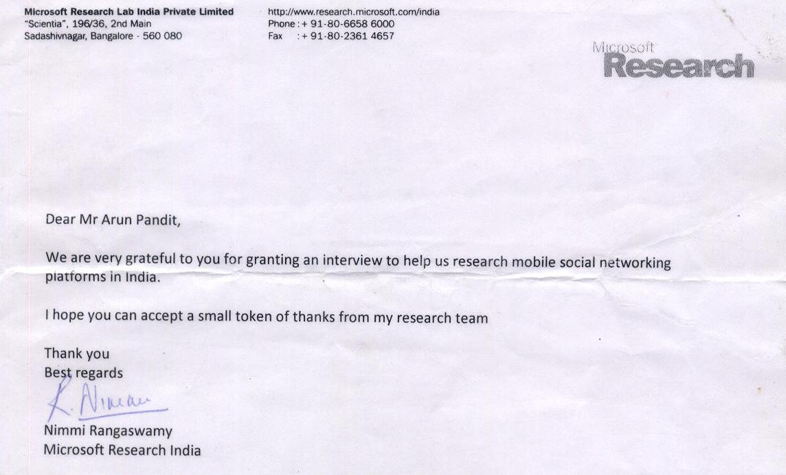 ACHIEVMENT: MICROSOFT RESEARCH INDIA selects DONTGIVEUP SMS Group for case study
