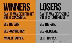 Motivational Quote on Winners: Winners Say it may be difficult but it is possible