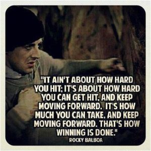 Rocky Balboa Motivational Quote: it ain't about how hard you hit