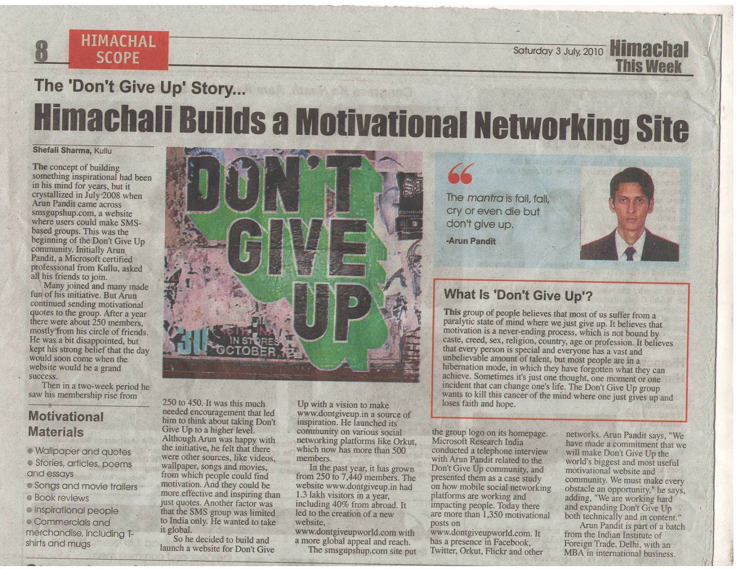 "Don't Give Up Story published in newspaper : ""Himachal this week "" on 03 July 2010"