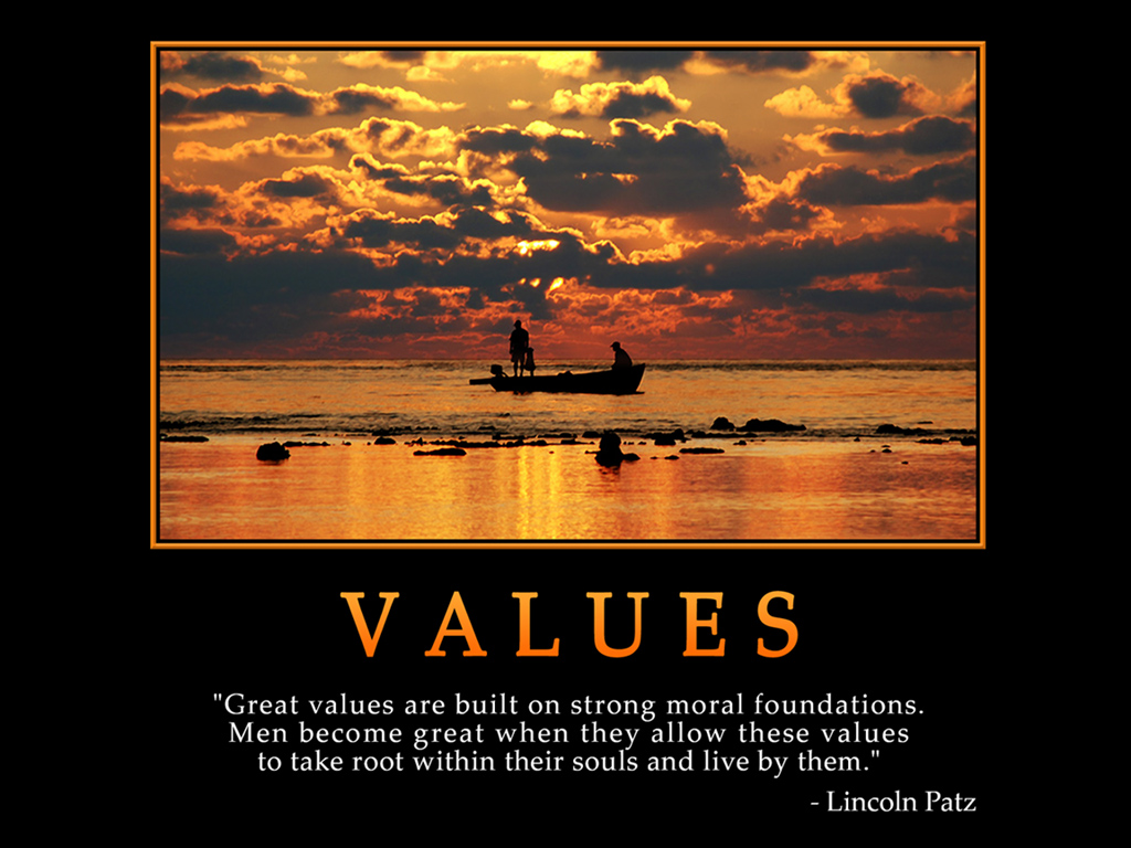 motivational wallpaper on values great values are built