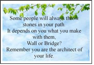 Motivational Quote on Bridge: People will always throw stones in your path Now