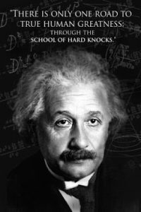 Einstein - there is only one road to true human greatness-through the school of hard knocks