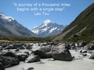 Motivational Quote on A journey : The journey of a thousand miles begins with a single step