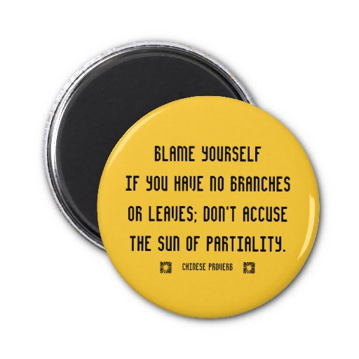 Motivational Quote on Blame: Blame yourself if you have no branches or leaves!