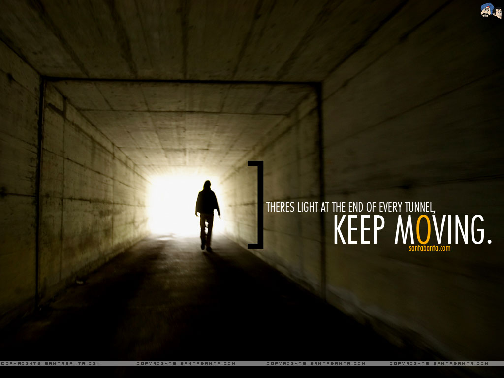 Motivational wallpaper on Hope : There is light at the end of every tunnel