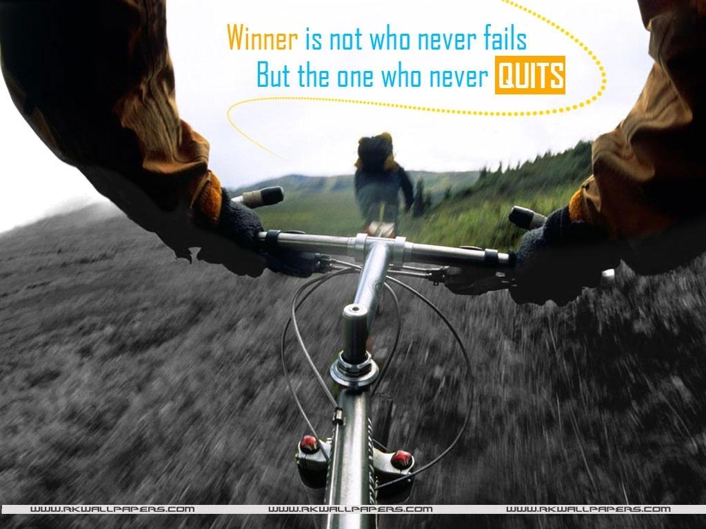 Motivational Wallpaper on Winning : Winner is not who never fails