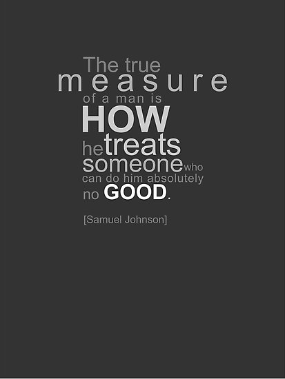 Motivational Quote on Measure: The true measure of a man is how he treats