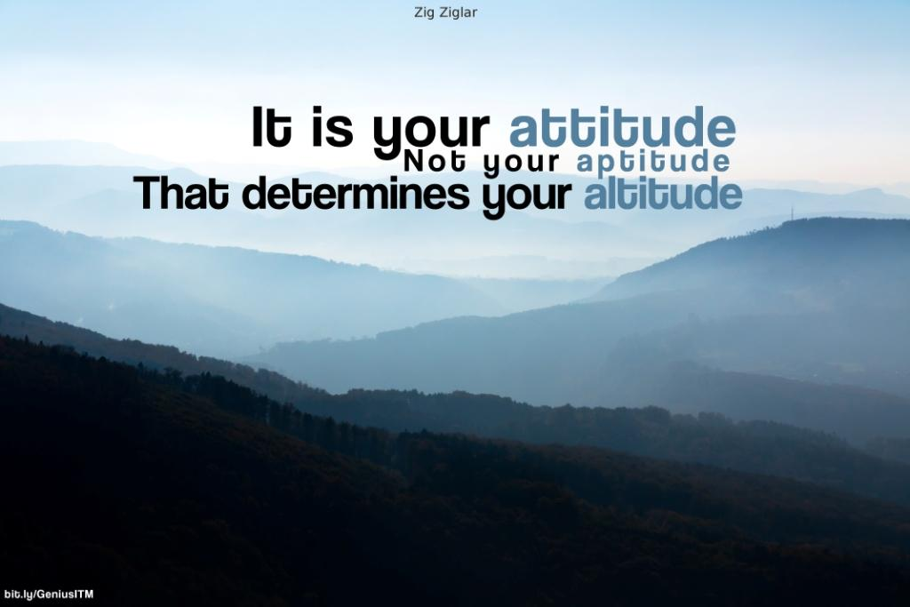 Motivational Quote on Attitude: Your attitude determines your altitude