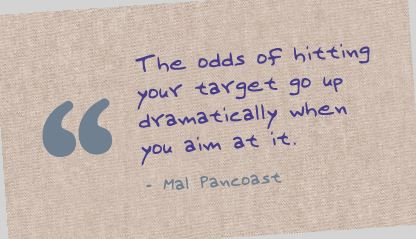 Motivational Quote on Target your Aim: The odds of hitting Your targets go up dramatically