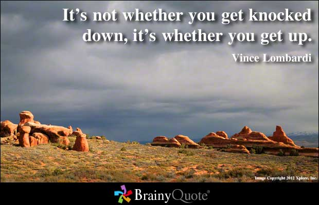 Motivational Quote on Attitude: It is not whether you get knocked down