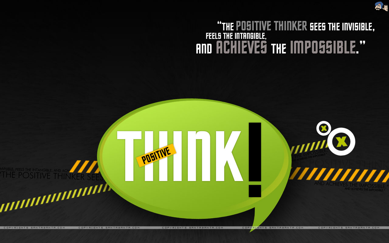 Motivational Wallpaper On Think Positive And Achieve The Impossible