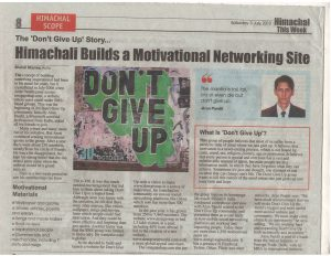 dont give up story in newspaper Himachal This week