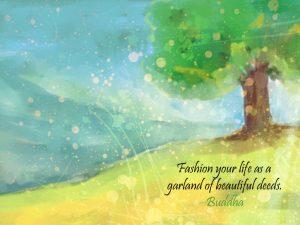 Motivational wallpaper on Beauty : Beautiful Deeds Quote by Buddha