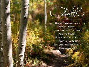 Motivational wallpaper on Faith : Faith Doubt sees the obstacles faith sees the say