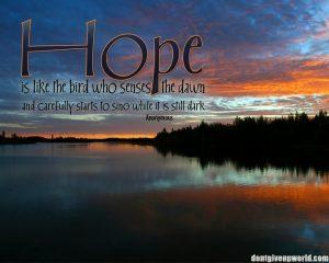 Motivational Wallpaper on Hope : Hope is like the bird who senses