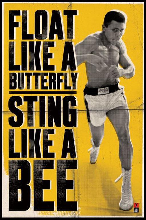 Motivational wallpaper on Muhammad Ali :  Float like a butterfly sting like a bee -