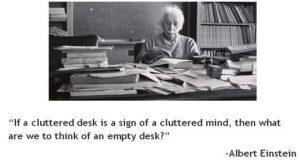 Introspective wallpaper on cluttered mind by Albert Einstein
