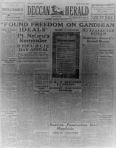 Republic of India newspaper cutting Deccan Herald 1950