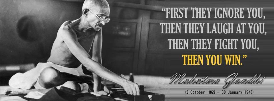 Motivational wallpaper on Ignorance : Mahatma Gandhi Ignorance to victory