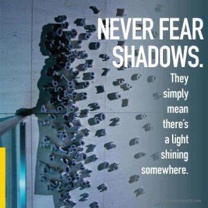 Motivational Wallpaper Never fear Shadows