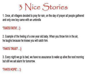 3 short stories on faith ,trust and hope