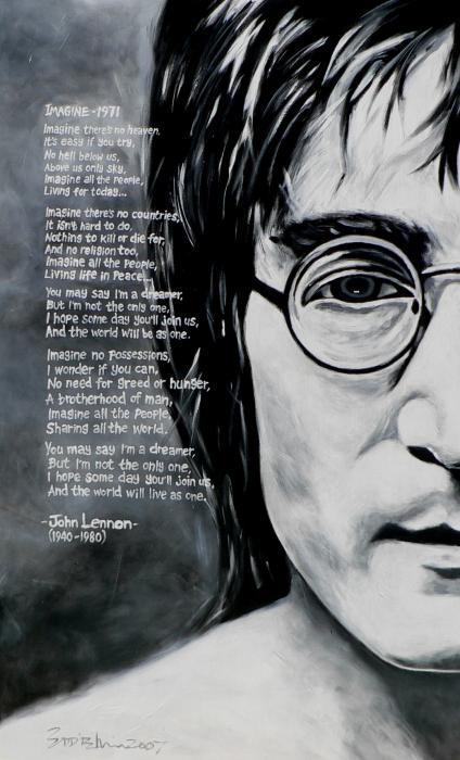 Motivational Wallpaper On Imagination John Lennon Sketch With Lyrics Of Imagine