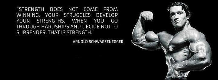 Arnold Schwarzenegger Motivational Wallpaper on Strength: The definition of strength