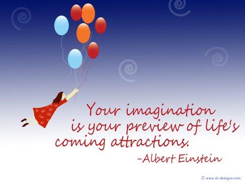 Wallpaper with Einstein Imagination Quote