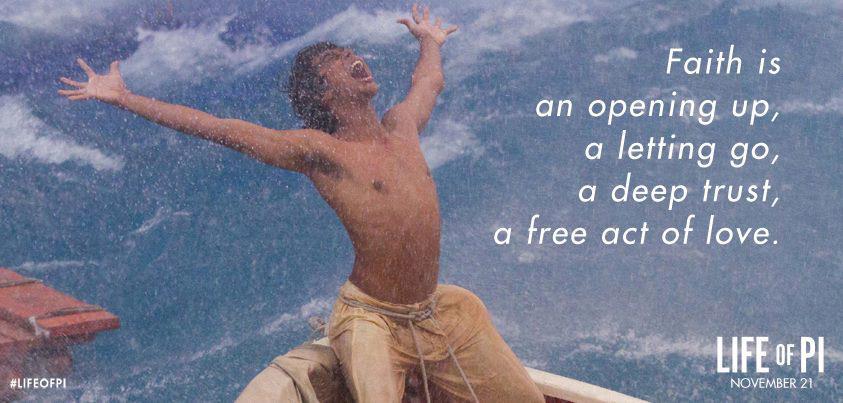 Motivational Wallpaper on Faith: Faith is an opening up, a letting go