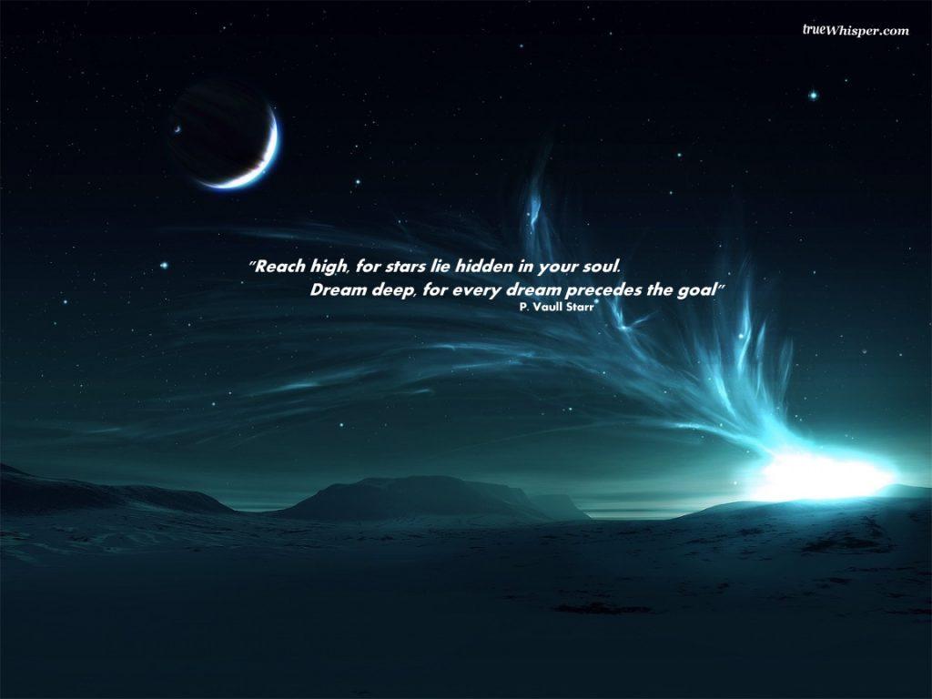 Motivational Wallpaper on Dream: Reach high for stars lie hidden in your soul