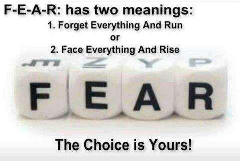 Motivational Wallpaper on Fear: Fear has two meanings