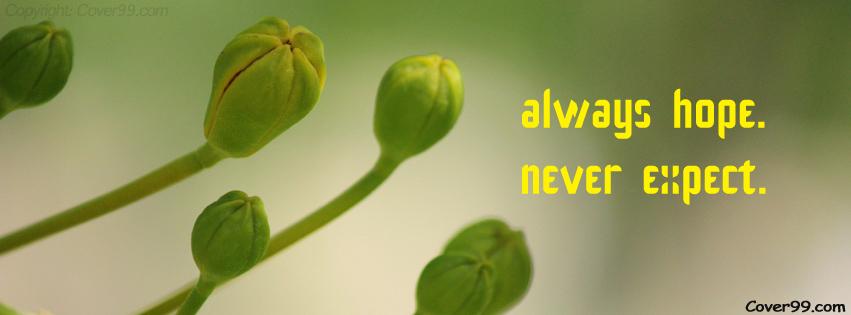 Hope Motivational Timeline Cover: Always hope never expect