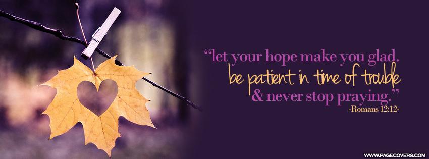 Inspirational timeline Cover on Hope: Let your hope make you glad