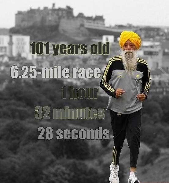 Motivational Wallpaper on Will Power: Oldest Marathon Runner