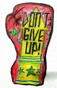 Don't Give Up Logo on Canvas by Avishek Chatterjee