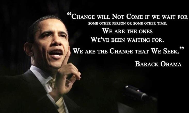 Motivational wallpaper On Change By Barack Obama..