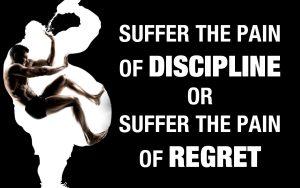 Motivational Wallpaper on Pain of Disipline Or Regret
