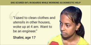 Shalini Bangalore Domestic Help 12th Board Topper