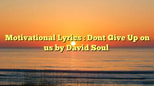 Motivational Lyrics : Dont Give Up on us by David Soul