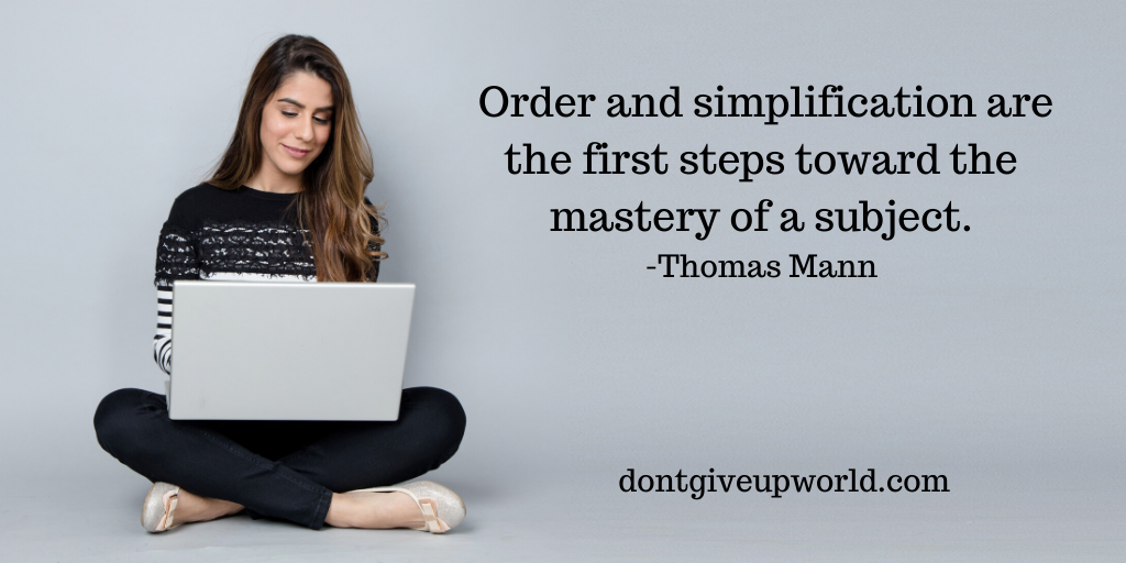 The image contains the quote on mastery by Thomas Mann