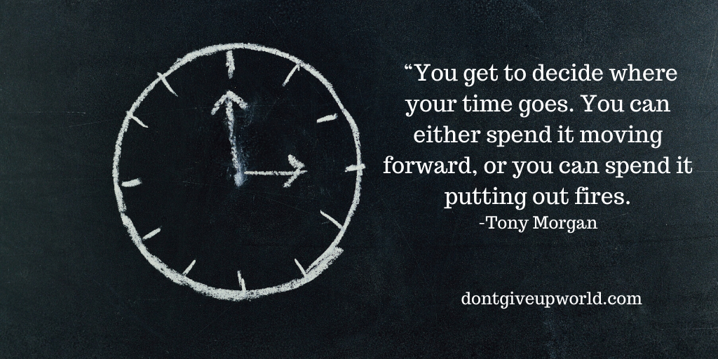 The image contains the motivational quote on time by Tony Morgan