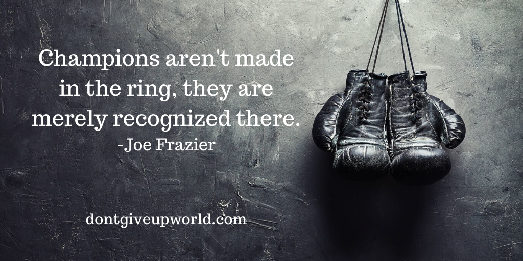 Quote on Champions by Joe Frazier. Boxing gloves wallpaper  wallpaper with quote