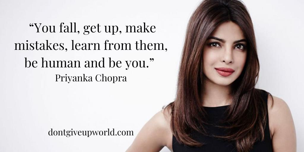 Don't Afraid To Fall is a motivational quote by Bollywood Star Priyanka Chopra